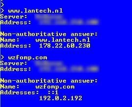 Voorbeeld van DNS queries